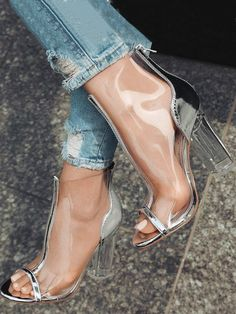 30df09f891a Fashion Sheer Zipper Thick High-heeled Sandals Sock Shoes