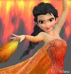 Elsa Fire | Disney Princess fire queen elsa