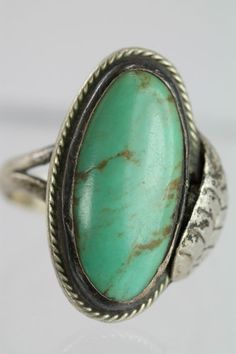 VINTAGE MEXICAN 925 STERLING SILVER & TURQUOISE RING