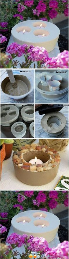 Concrete candle holder- I wonder if you could make the holes big enough to set a hurricane lamp shade in, making the candles wind-proof?