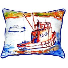 Rusty Boat Extra Large Zippered Indoor or Outdoor Pillow 20x24 Extra large indoor/outdoor pillows with a zippered cover and a removable polyfill insert. Square pillows measure 22x22 and rectangular pillows measure 20x24.