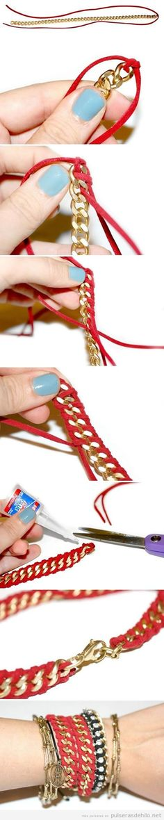 Love this going to try it Jewelry Knots, Macrame Jewelry, Jewelry Crafts, Jewelry Art, Jewelry Design, Handmade Accessories, Handmade Jewelry, Imitation Jewelry, Braided Bracelets