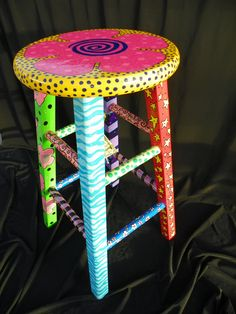 bright, funky, eclectic, hand painted, one-of-a-kind stool. $132.67, via Etsy.    @Tracie Rather idea for our refurbished story teller stool?