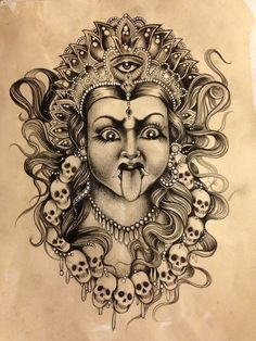 """Kali"" by The Sinister Hand Kali Tattoo, Shiva Tattoo Design, Abstract Pencil Drawings, Art Drawings Sketches Simple, Kali Goddess, Goddess Art, Durga Painting, Lord Shiva Painting, Tattoo Models"