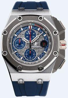 Audemars Piguet Royal Oak Offshore Platinum Schumacher BNIB. $112,500 #AudemarsPiguet #AP #watch #watches #chronograph platinum case rubber bracelet