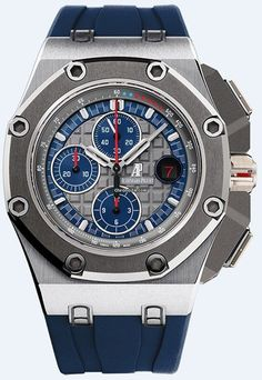 Audemars Piguet Royal Oak Offshore Platinum Schumacher BNIB. $112,500 #AudemarsPiguet #AP #watch #watches #chronograph platinum case rubber bracelet