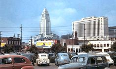 Vintage Los Angeles - City Hall In The Back Ground Los Angeles Area, Downtown Los Angeles, Los Angeles California, Southern California, California History, Los Angeles Hollywood, San Fernando Valley, Vintage New York, City Of Angels