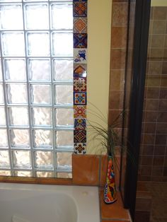 Closer photo of some of the wall tiles