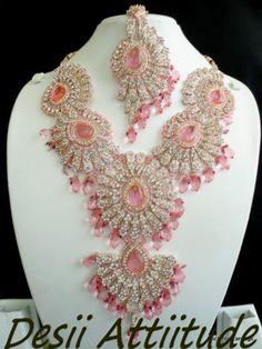 pink, silver and diamond bridal set