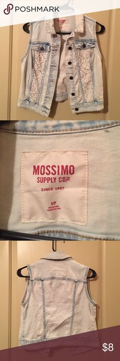 Sleeveless jean jacket Never worn, light blue/white colored with lace. It is short! Mossimo Supply Co Jackets & Coats Jean Jackets
