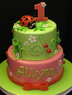 The lady bug cake was for a little girl turning 1.  I tried to follow the party decor that the mother provided me with.  The smash cake was a lady bug made out of a half ball cake.  Thanks to the other CC cakes for inspiration!!