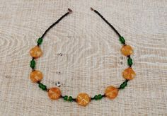 Sassy honey quartz and green glass necklace. by BijoubeadsLondon Amber Necklace, Green Necklace, Short Necklace, Quartz Necklace, Glass Necklace, Boho Necklace, Necklaces, Black Glass, Antique Copper