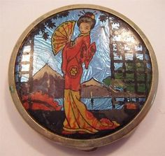 Vintage Art Deco 1920s Ladies Mirrored Compact - Butterfly Wing - Geisha | eBay