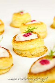 SANDRA BAKES A PARTY!:: Amazing little appetizer!  Vol-au-vent with salmon mousse, lemon zest, dill and red caviar.