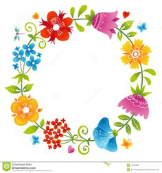 Bright Wreath With Colorful Flowers. Stock Vector - Image: 41648289