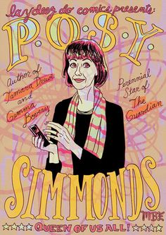 Cartoon of Posy Simmonds MBE by Ellen Lindner
