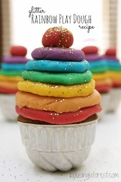 Glitter Rainbow Play Dough ~ I love this simple reduced salt recipe. Playdough Activities, Craft Activities For Kids, Crafts For Kids, Creative Activities, Stem Activities, Kids Diy, Toddler Crafts, Toddler Activities, Craft Ideas