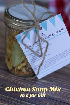 Chicken Soup Mix in A Jar Gift } is perfect for this Get well Soon basket during cold and flu season.