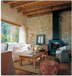 Ways to Decorate Interior Stone Walls Stone Interior, Style Rustique, Interior Decorating, Interior Design, Stone Houses, Cabana, Beautiful Homes, Living Spaces, House Plans