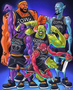 I haven't seen this Golden State Monstars picture here yet. Funny Basketball Memes, Nba Funny, Basketball Is Life, Basketball Legends, Basketball Players, Basketball Tattoos, Basketball Hoop, Jordan Basketball, Nba Pictures