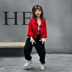 ff987a609 Adultos niños primavera ropa infantil de verano establecido Pantalones  niños niñas Jazz Trajes de baile Hip Hop denim Camiseta de los niños trajes  twinset