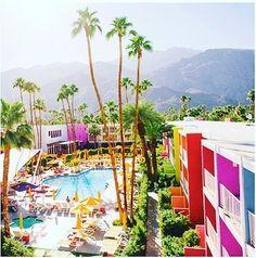 I N S P O  @netaporter #TheSaguaro the iconic rainbow-coloured hotel in California's #PalmSprings  #LunaAtelier #PyjamaChic