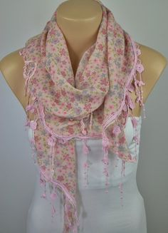ON SALE  Pink Floral Scarf Spring Scarf Shawl Cowl by LIFEPARTNER, $17.10
