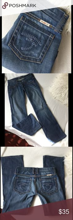 """Frankie B boot cut Jeans Frankie B boot cut Jeans with Signature F pocket design. Medium/dark color wash. Great condition ... hem line was professionally hemmed and inseam is 29"""" long waist is 13.5"""" across and a 6 3/4"""" front rise. Slight amount of stretch Frankie B. Jeans Boot Cut"""