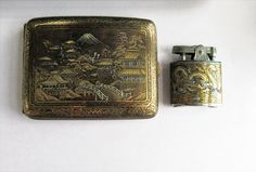 SOLD $39.00 Vintage OMEGA Japanese Dragon Cigarette Case & Lighter by feathersoup on Etsy