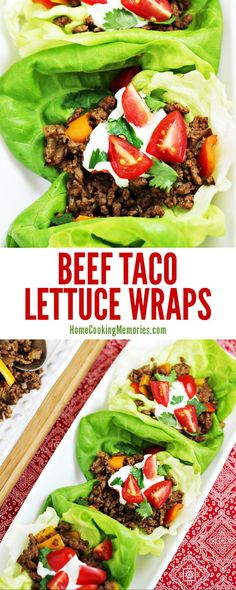 Taco night just got healthier! This easy Beef Taco Lettuce Wraps recipe is made with lean ground beef, onions, sweet peppers, and a homemade taco seasoning. Spoon into butter lettuce (rather than tortillas) and then add your favorite taco toppings.