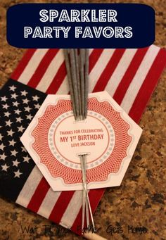 """sparkler party favors for the kids, but it to say """"Thanks for celebrating our little sparkler"""" for the shower"""