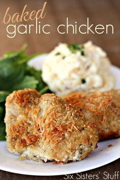 Baked Garlic Chicken on SixSistersStuff.com - the perfect dinner for busy nights or even Sunday dinner!