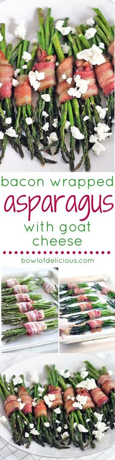 Bacon Wrapped Asparagus with Goat Cheese- An easy and DELICIOUS three-ingredient side that's as decadent as it sounds! Gluten free and paleo optional, this veggie side dish is sure to impress any dinner guest. Veggie Side Dishes, Vegetable Sides, Real Food Recipes, Vegan Recipes, Easy Appetizer Recipes, Appetizers, Bacon Wrapped Asparagus, Unprocessed Food, Small Meals