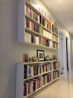 Hallway ideas · efficient and decorative bookshelf alternative for narrow spaces narrow bookshelf, bookshelves, bookcase, dark Home Library Design, Interior Design Living Room, House Design, Narrow Bookshelf, Bookshelves, Bookshelf Design, Small Hallway Decorating, Small Hallways, Hallway Storage