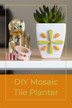 Learn how to make a Mosaic Tile Planter for your workspace. It's so easy you can do it during your next 5 minute coffee break! #mosaictile #homeoffice Fun Diy Crafts, Easy Crafts For Kids, Diy Craft Projects, Decor Crafts, Home Crafts, Mosaic Diy, Mosaic Tiles, Dollar Tree Crafts, Diy Pins