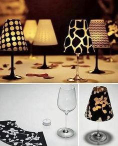 Wine glass candle holders! Adorable!!