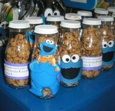 Cookie Monster party favors_starbucks frap bottles with cookie crisp cereal