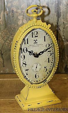 CHIC HOTEL DUPUIS PARIS SHABBY VINTAGE STYLE YELLOW METAL MANTLE TABLE CLOCK