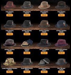 Men's Vintage Style Hats: Fedoras-Derbys-Top Hats-Stingy Brims-Pork Pies. http://www.newyorkhatco.com/see-the-line/1