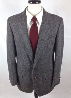 VTG Harris Tweed Blazer Gray Wool Hunting Shooting Sport Coat Jacket 40 R #HarrisTweed #TwoButton