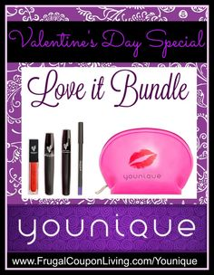 Younique Love It Bundle for Valentine's Day. This Younique Deal and Sale includes 3-D Moonstruck Mascara. The Month of February only on Frugal Coupon Living.
