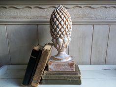 Antique wood finial