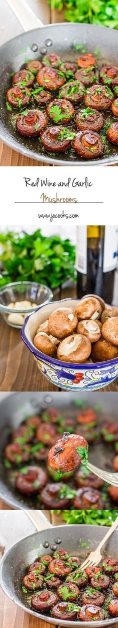 Red wine and garlic mushrooms - a simple delicious side dish featuring cremini mushrooms tossed in butter, red wine and garlic. Perfect side dish to a juicy steak.