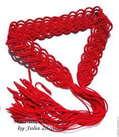 """Купить Пояс """"Сердце к сердцу"""" красный с кистями, макраме - ярко-красный, орнамент, пояс, ажурный"""