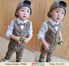 2 Piece Baby Boys Formal Dress - Designer Kids Birthday Outfits, Boys Wedding Outfit, Toddler Boys Formal Party Suit, 2016 New Fashion Style, White Shirt With Attached Waistcoat and a Pants