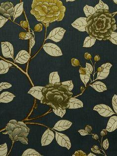 LEDA PEONY MIDNIGHT #blue-turquoise #print-fabrics #various