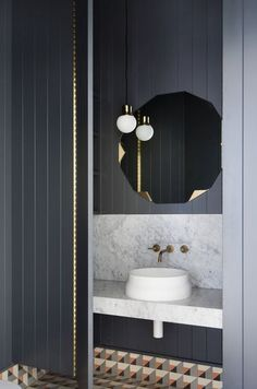 Marble sink top + colorful tile for a 60s vibe bathroom | Gallery | Australian Interior Design Awards