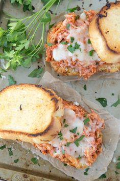 Tender, flavorful chicken coated in a homemade tomato sauce and sandwiched between two crisp slices of cheesy Texas Toast.