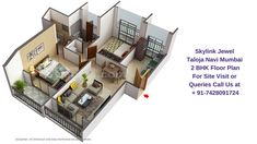 Sales: 7428091724   Skylink Jewel offers 2 BHK unique & well crafted apartments with all the modern amenities. The Carpet Area of 2 BHK units is 670 Sq. Ft. The price of 2 BHK flats starts from 49 Lacs onwards. This configuration consists of 2 Bedrooms, 2 Bathrooms, 2 Balcony, living room, kitchen and dining room.  Residents can enjoy the view of natural beauty. Room Kitchen, Dining Room, Navi Mumbai, Site Visit, Master Plan, All Modern, Apartments, Balcony, Natural Beauty