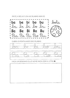 Atividades com a Letra B para alfabetização - Só Atividades Math Equations, Words, Cap, Letter B Activities, Literacy Activities, Language Activities, Read And Write, Cursive Calligraphy, Preschool